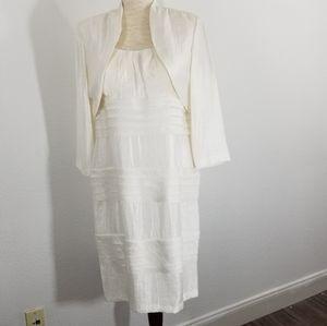SL Fashions Tiered White Dress w/ Matching Jacket